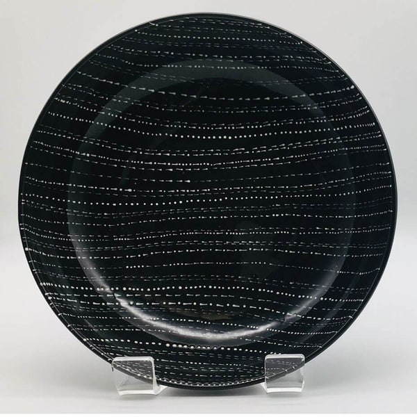 Contemporary hand finished black and white large fruit bowl 21.5cm by 6.5cm