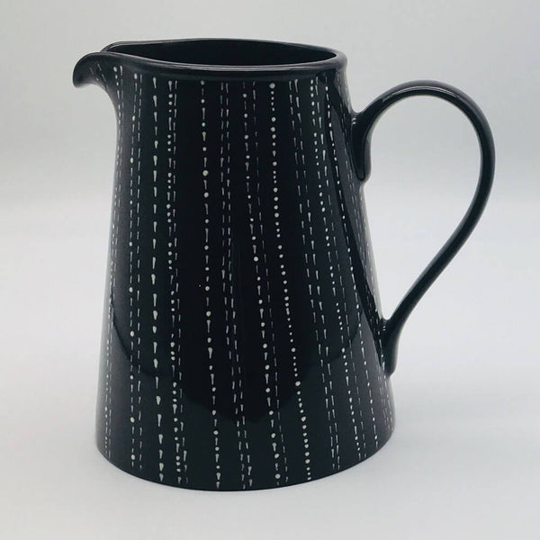 Contemporary hand finished black and white large jug 13cm by 20cm.