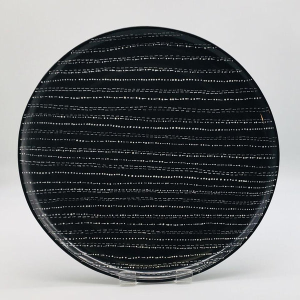 Contemporary hand finished black and white dinner plate Diameter 26.5cm.