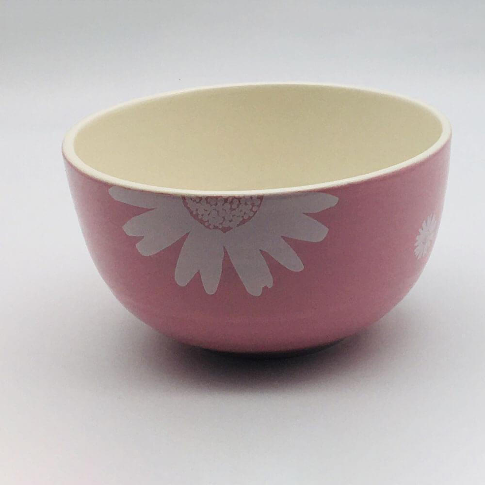 Beautiful pink pastel coloured cereal bowl. Hand painted by our artisans. 14.5cm by 8cm.