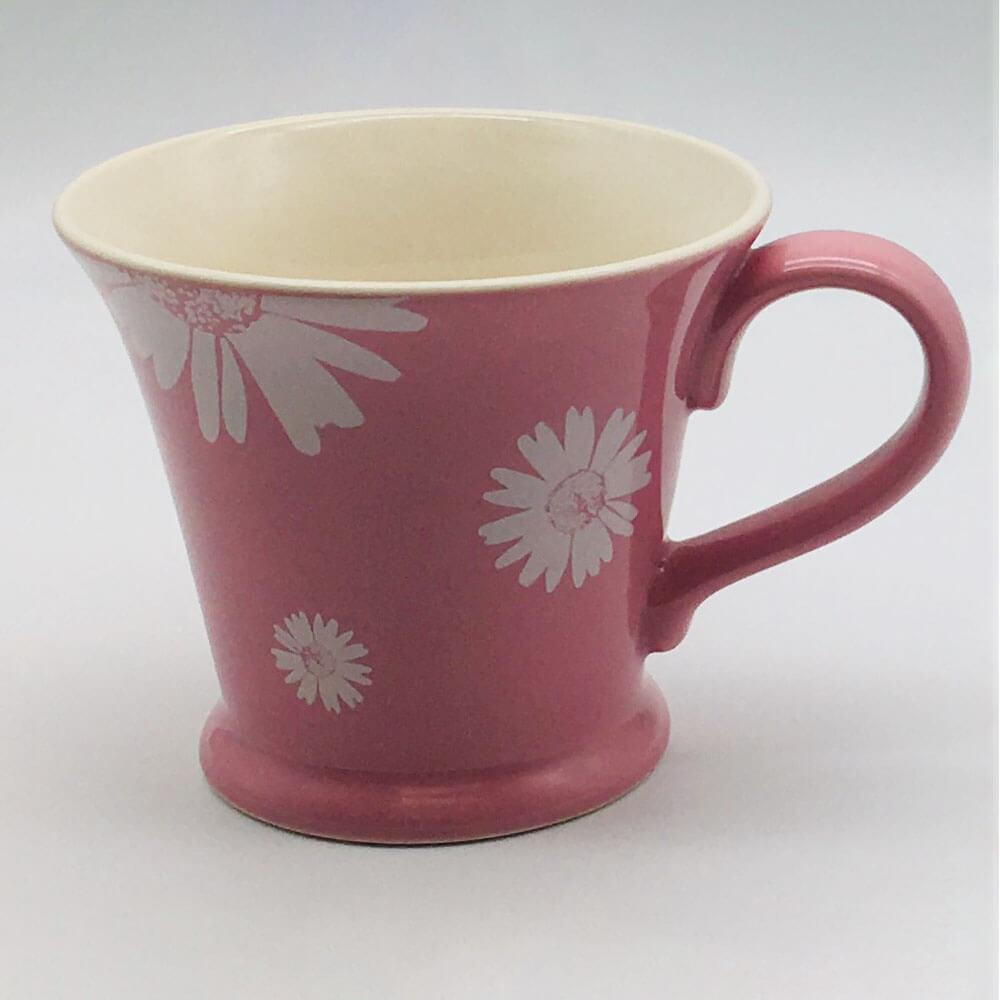 Beautiful pink pastel coloured conical mug. Hand painted by our artisans. 11cm by 10cm.