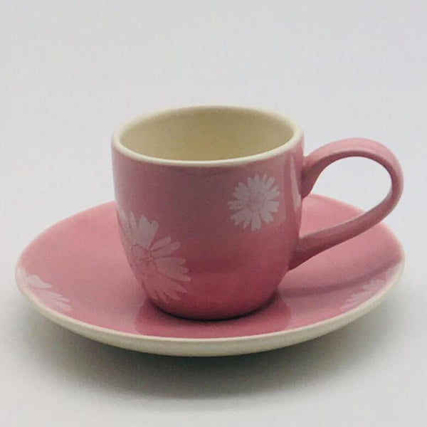 Beautiful pink pastel coloured espresso cup and saucer. Hand painted by our artisans. 6cm cup,  5.5cm saucer.