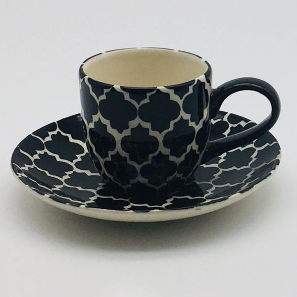 A stunning black Moroccan inspired espresso cup and saucer beautifully painted using a hand cut sponge technique. 6cm cup,  5.5cm saucer.