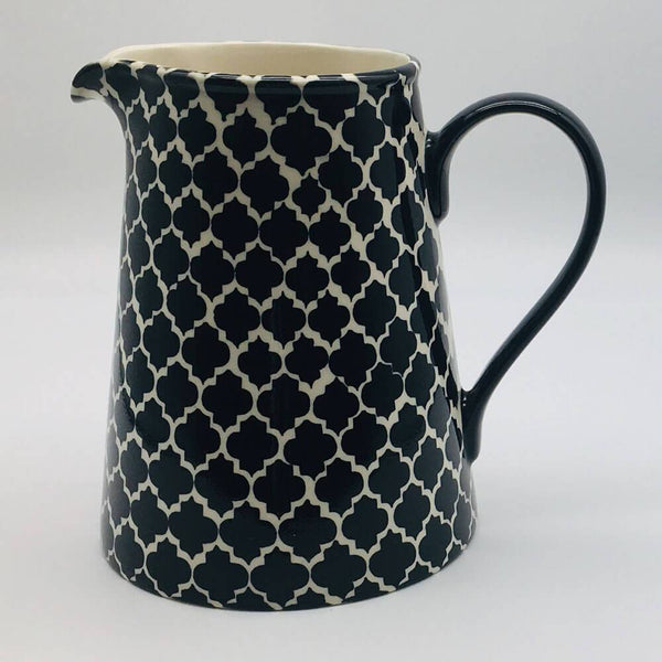 A stunning black Moroccan inspired large jug beautifully painted using a hand cut sponge technique. 13cm by 20cm.