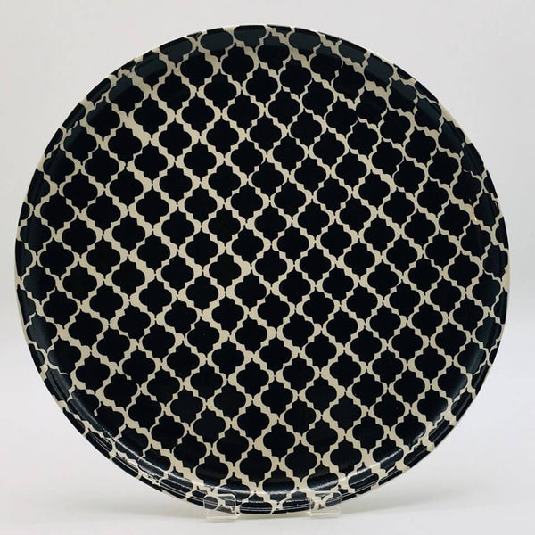 A stunning black Moroccan inspired dinner plate beautifully painted using a hand cut sponge technique. Diameter 26.5cm.