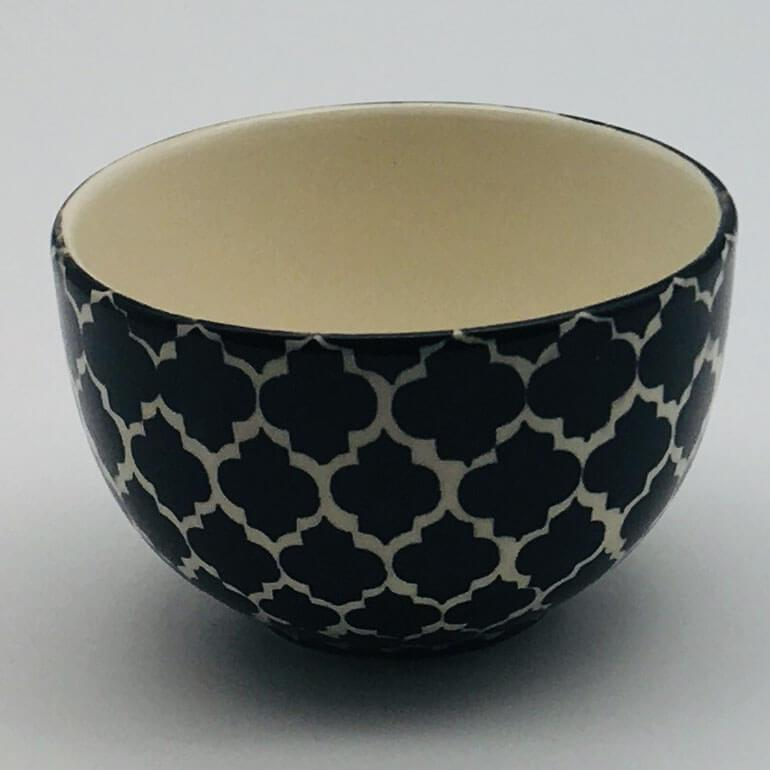 A stunning black Moroccan inspired cereal bowl beautifully painted using a hand cut sponge technique. 10cm by 6.5cm.
