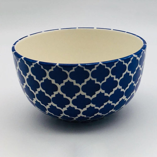 A stunning blue Moroccan inspired cereal bowl beautifully painted using a hand cut sponge technique. 14.5cm by 8cm.