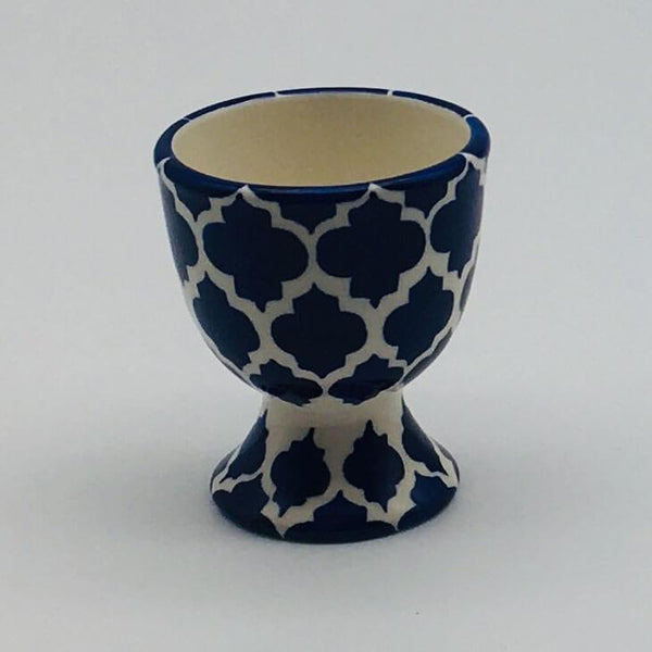 A stunning blue Moroccan inspired egg cup beautifully painted using a hand cut sponge technique. 5.5cm by 6.5cm.