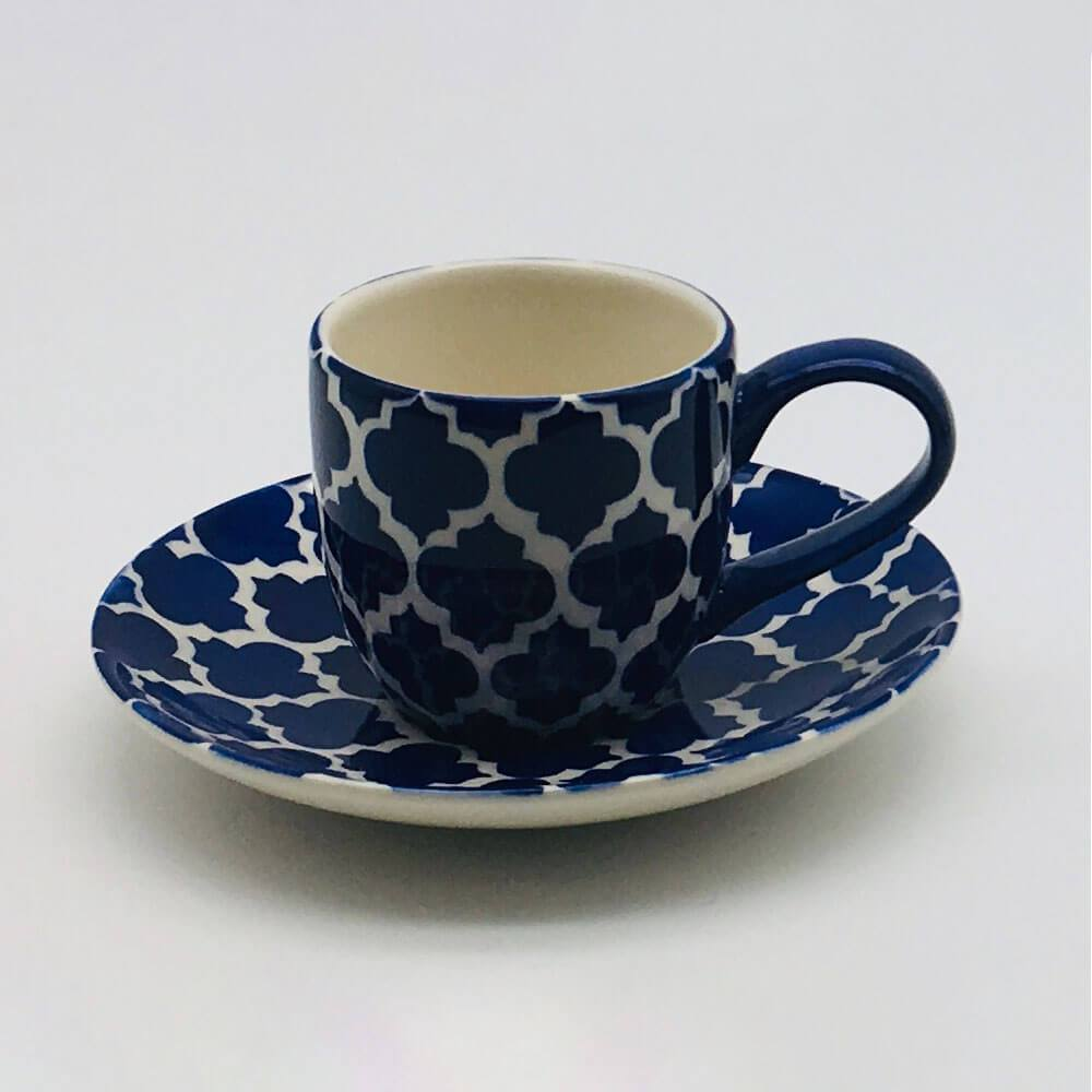 A stunning blue Moroccan inspired espresso cup and saucer beautifully painted using a hand cut sponge technique. 6cm cup,  5.5cm saucer.