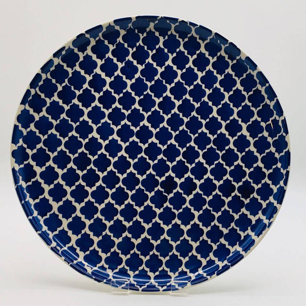 A stunning blue Moroccan inspired dinner plate beautifully painted using a hand cut sponge technique. Diameter 26.5cm.