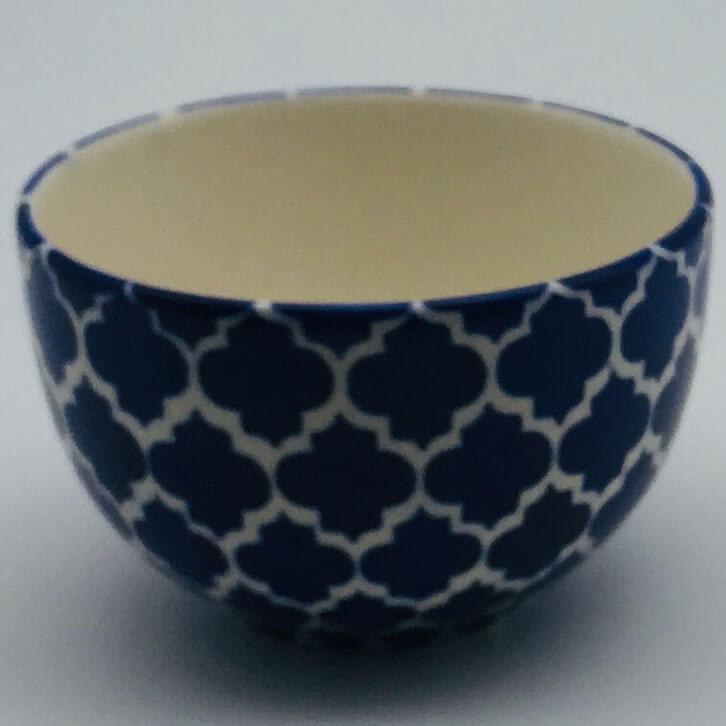 A stunning blue Moroccan inspired cereal bowl beautifully painted using a hand cut sponge technique. 10cm by 6.5cm.