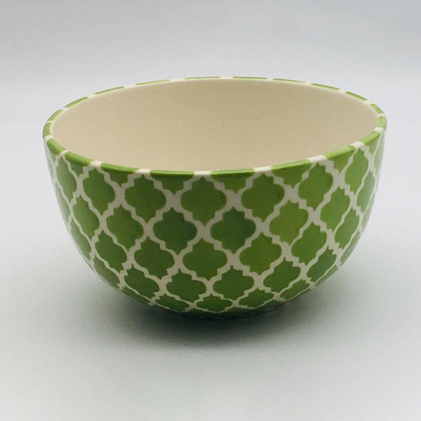 A stunning green Moroccan inspired cereal bowl beautifully painted using a hand cut sponge technique. 14.5cm by 8cm.
