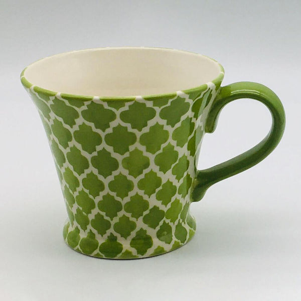 A stunning green Moroccan inspired conical mug beautifully painted using a hand cut sponge technique. 11cm by 10cm.