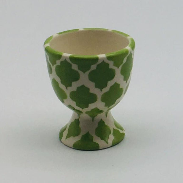 A stunning green Moroccan inspired egg cup beautifully painted using a hand cut sponge technique. 5.5cm by 6.5cm.