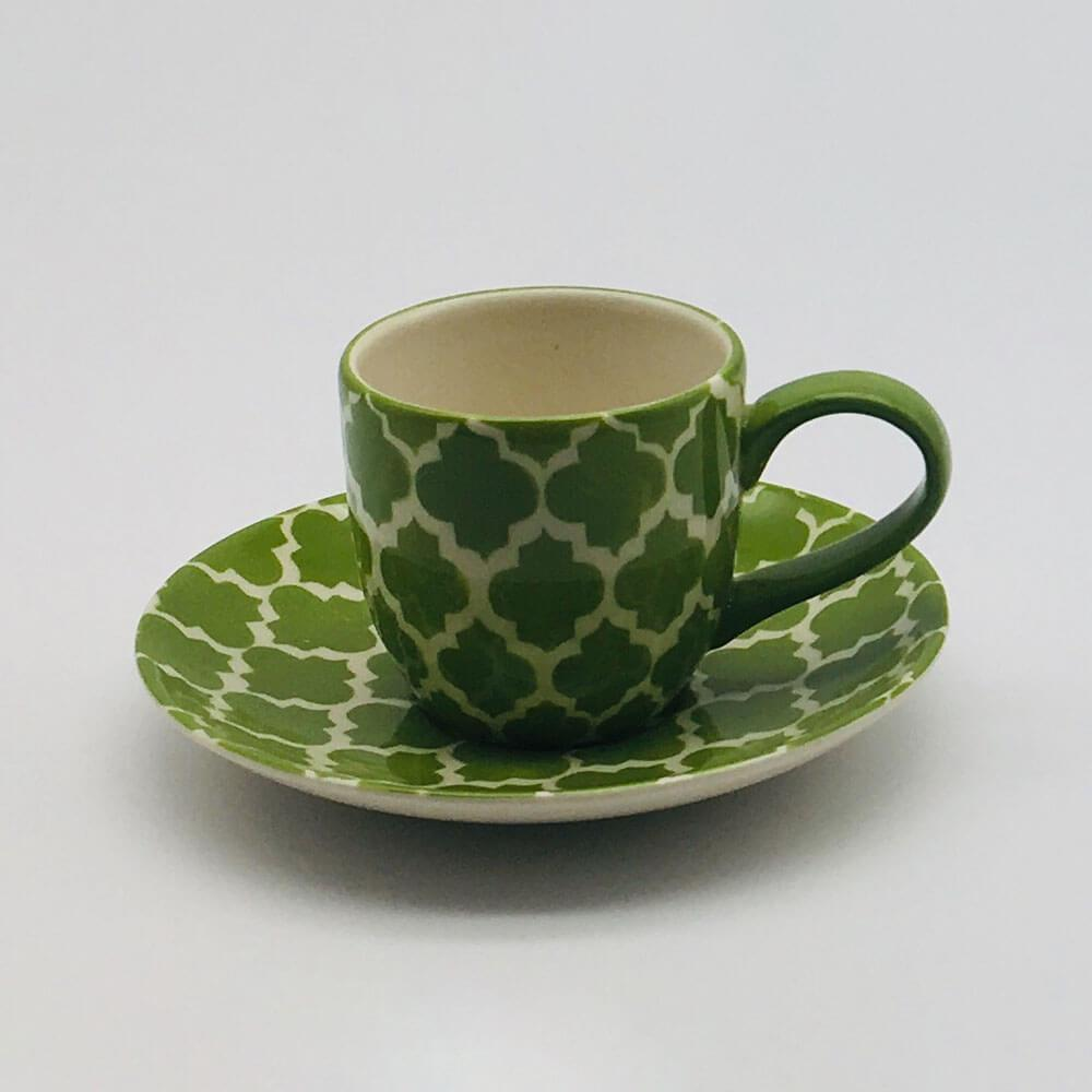 A stunning green Moroccan inspired espresso cup and saucer beautifully painted using a hand cut sponge technique. 6cm cup,  5.5cm saucer.