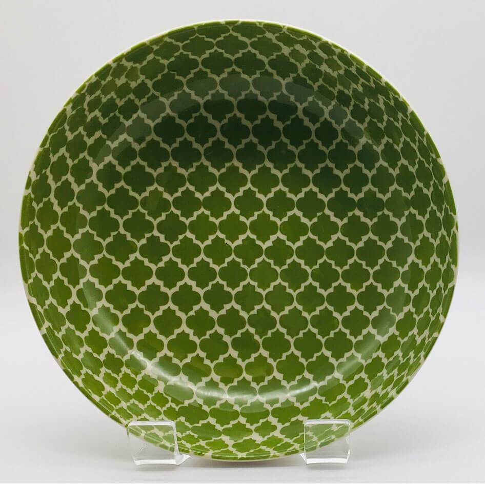A stunning green Moroccan inspired large fruit bowl beautifully painted using a hand cut sponge technique. 21.5cm by 6.5cm