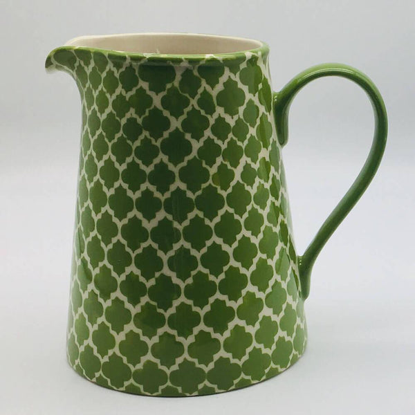 A stunning green Moroccan inspired large jug beautifully painted using a hand cut sponge technique. 13cm by 20cm.