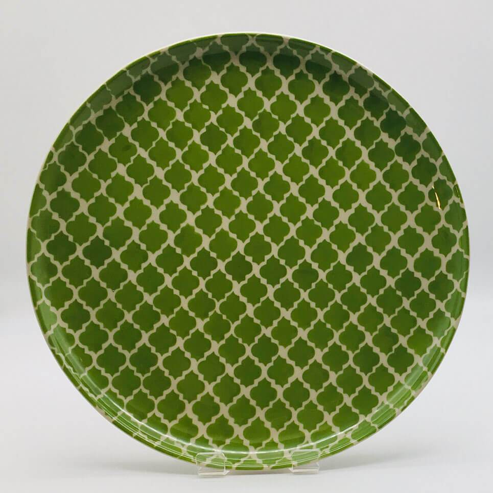 A stunning green Moroccan inspired dinner plate beautifully painted using a hand cut sponge technique. Diameter 26.5cm.
