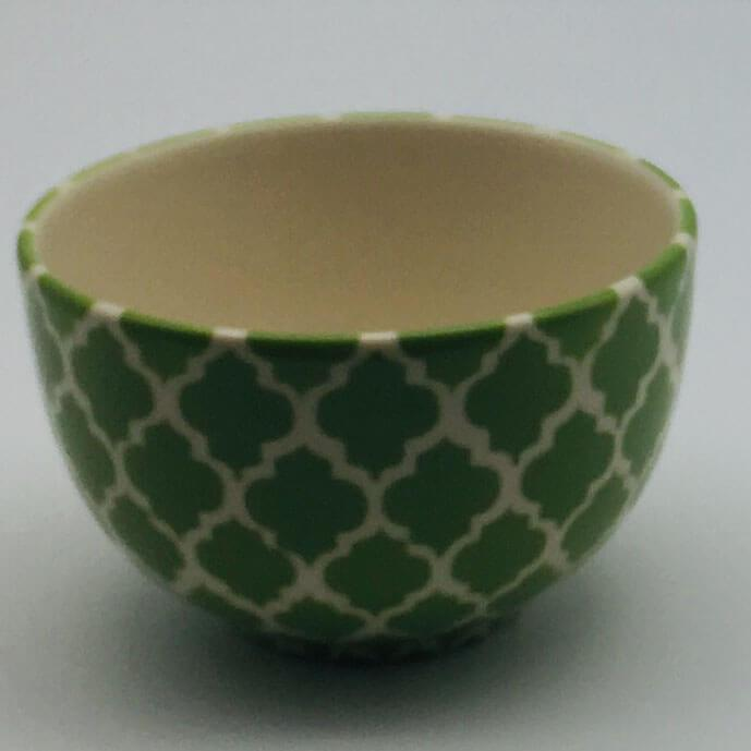 A stunning green Moroccan inspired cereal bowl beautifully painted using a hand cut sponge technique. 10cm by 6.5cm.