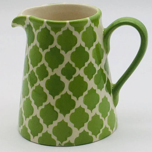 A stunning green Moroccan inspired small jug beautifully painted using a hand cut sponge technique. 8cm by 9.5cm.