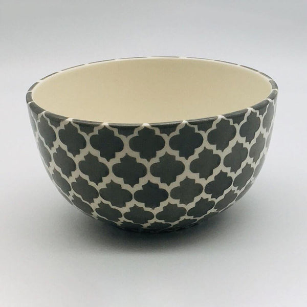 A stunning grey and white  Moroccan inspired cereal bowl beautifully painted using a hand cut sponge technique. 14.5cm by 8cm.