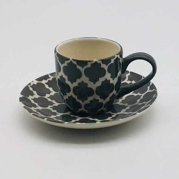 A stunning grey and white  Moroccan inspired espresso cup and saucer beautifully painted using a hand cut sponge technique. 6cm cup,  5.5cm saucer.