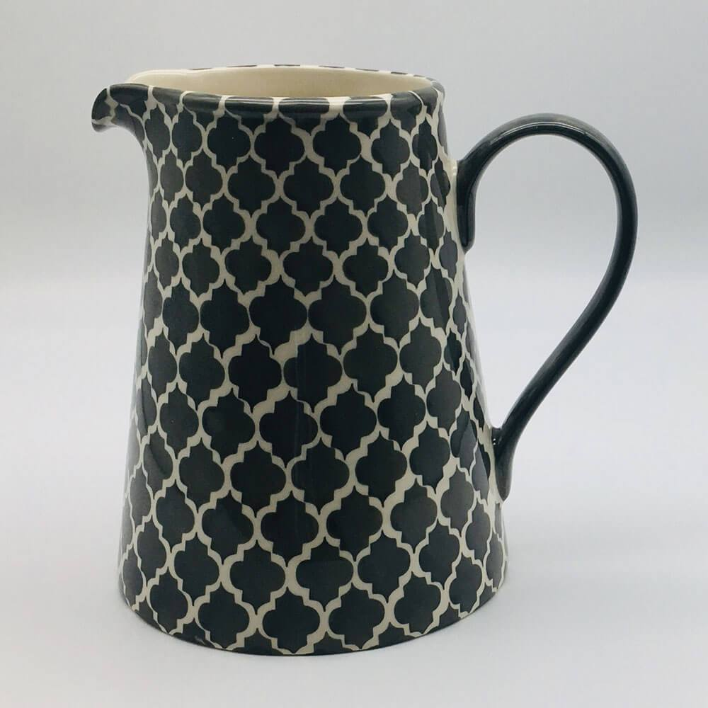 A stunning grey and white  Moroccan inspired large jug beautifully painted using a hand cut sponge technique. 13cm by 20cm.
