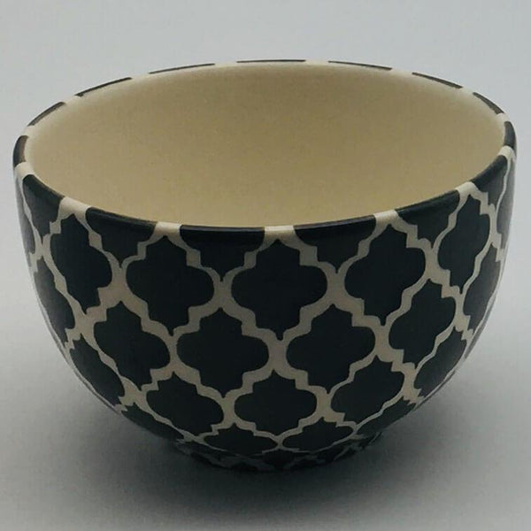 A stunning grey and white  Moroccan inspired cereal bowl beautifully painted using a hand cut sponge technique. 10cm by 6.5cm.