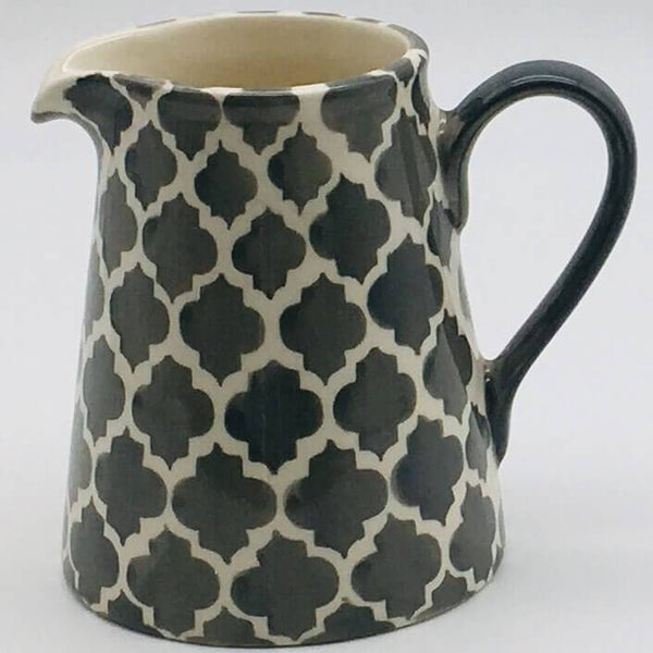 A stunning grey and white  Moroccan inspired small jug beautifully painted using a hand cut sponge technique. 8cm by 9.5cm.