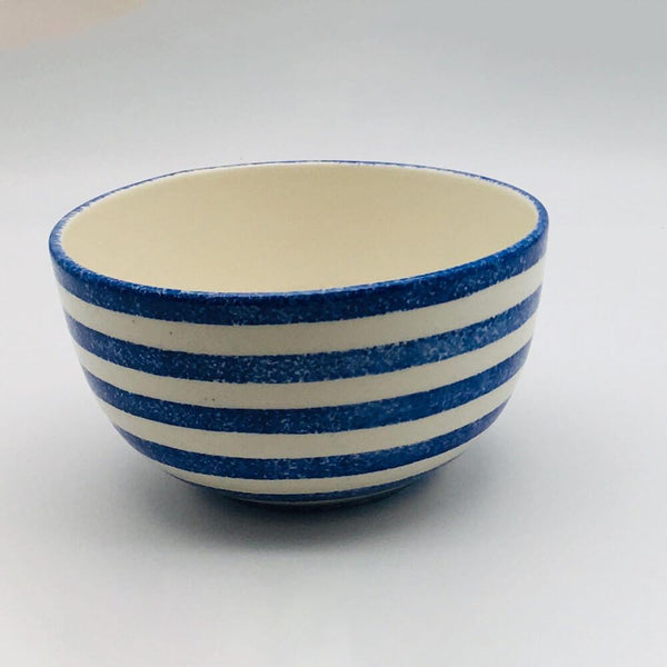 Beautiful blue and white striped cereal bowl with a design applied using a hand cut sponge effect. 14.5cm by 8cm.