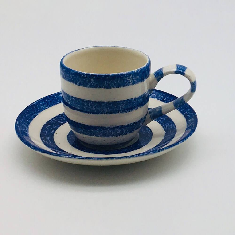Beautiful blue and white striped espresso cup and saucer with a design applied using a hand cut sponge effect. 6cm cup,  5.5cm saucer.