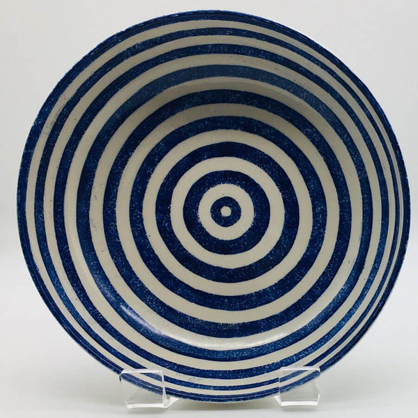 Beautiful blue and white striped large fruit bowl with a design applied using a hand cut sponge effect. 21.5cm by 6.5cm