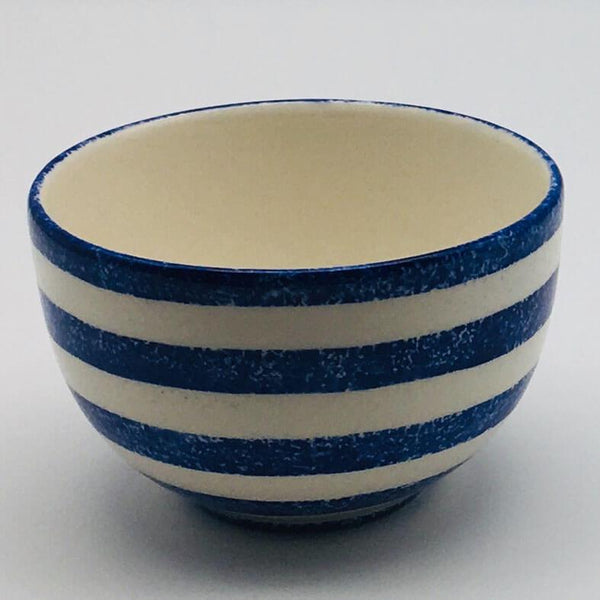 Beautiful blue and white striped cereal bowl with a design applied using a hand cut sponge effect. 10cm by 6.5cm.