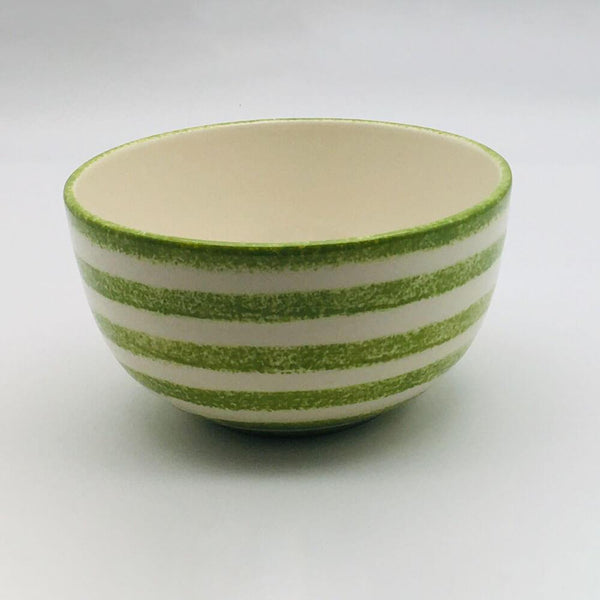 Beautiful green and white striped cereal bowl with a design applied using a hand cut sponge effect. 14.5cm by 8cm.