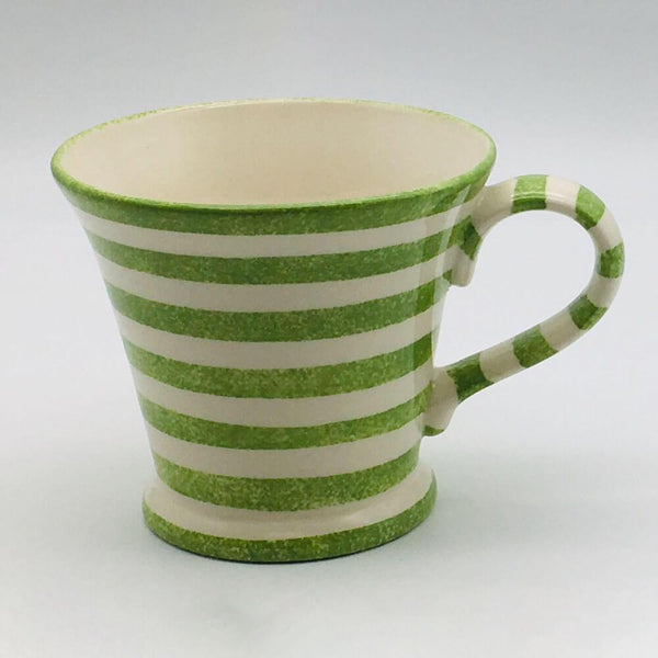 Beautiful green and white striped conical mug with a design applied using a hand cut sponge effect. 11cm by 10cm.
