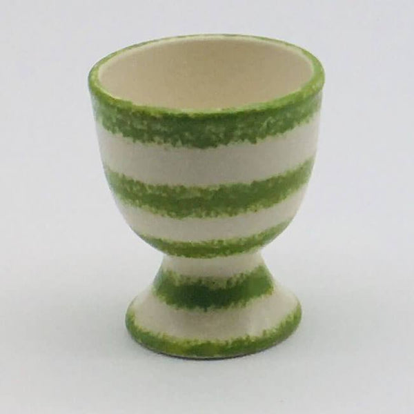 Beautiful green and white striped egg cup with a design applied using a hand cut sponge effect. 5.5cm by 6.5cm.