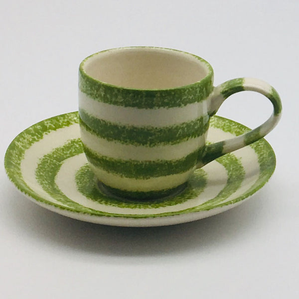 Swirl Green Espresso Cup and Saucer