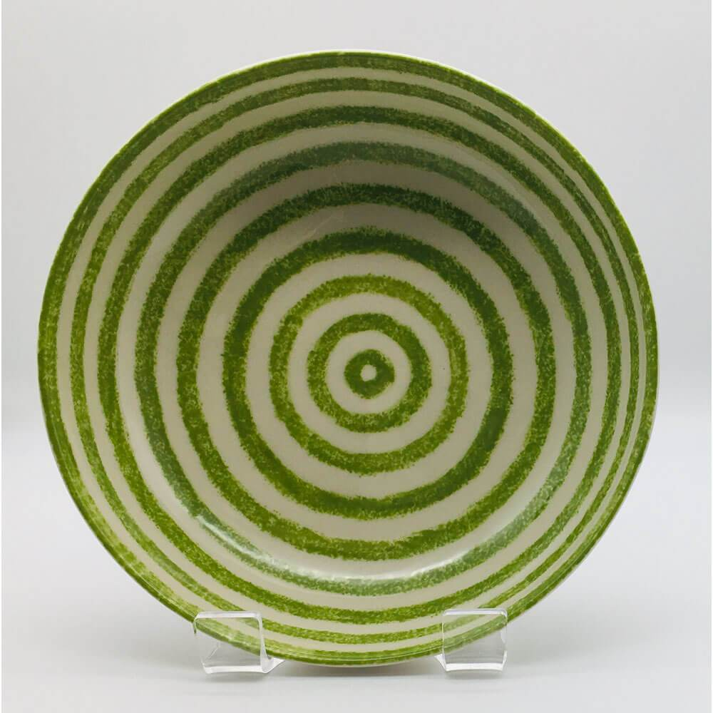 Beautiful green and white striped large fruit bowl with a design applied using a hand cut sponge effect. 21.5cm by 6.5cm