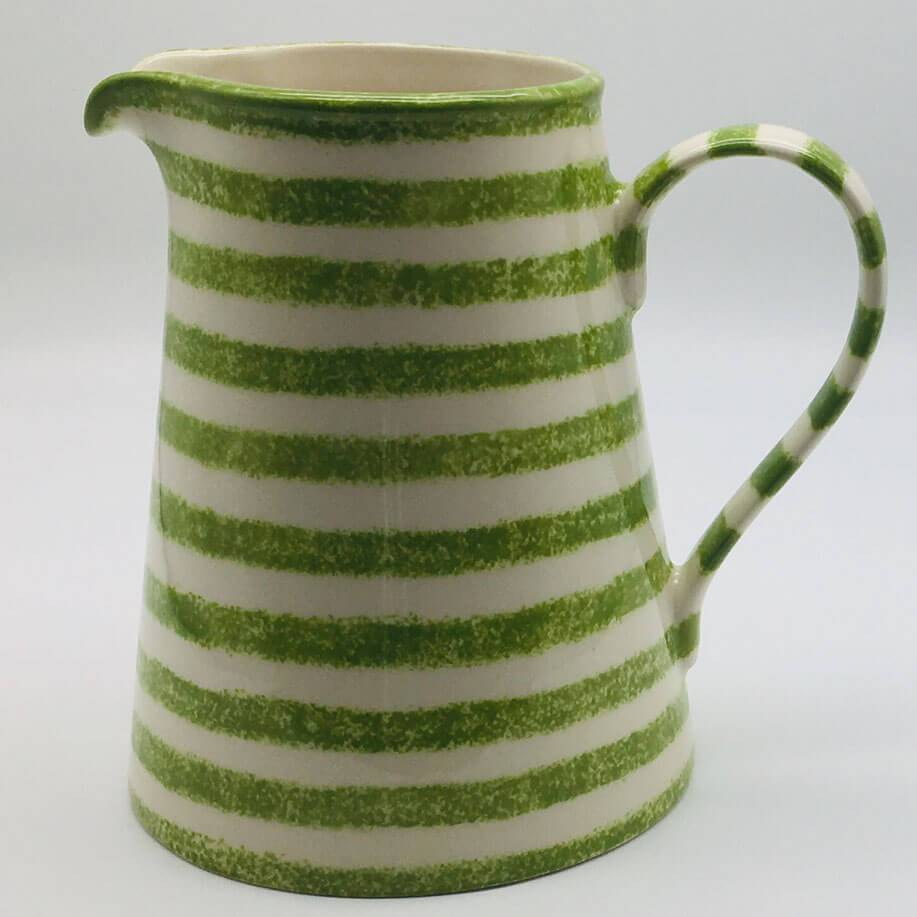 Beautiful green and white striped large jug with a design applied using a hand cut sponge effect. 13cm by 20cm.