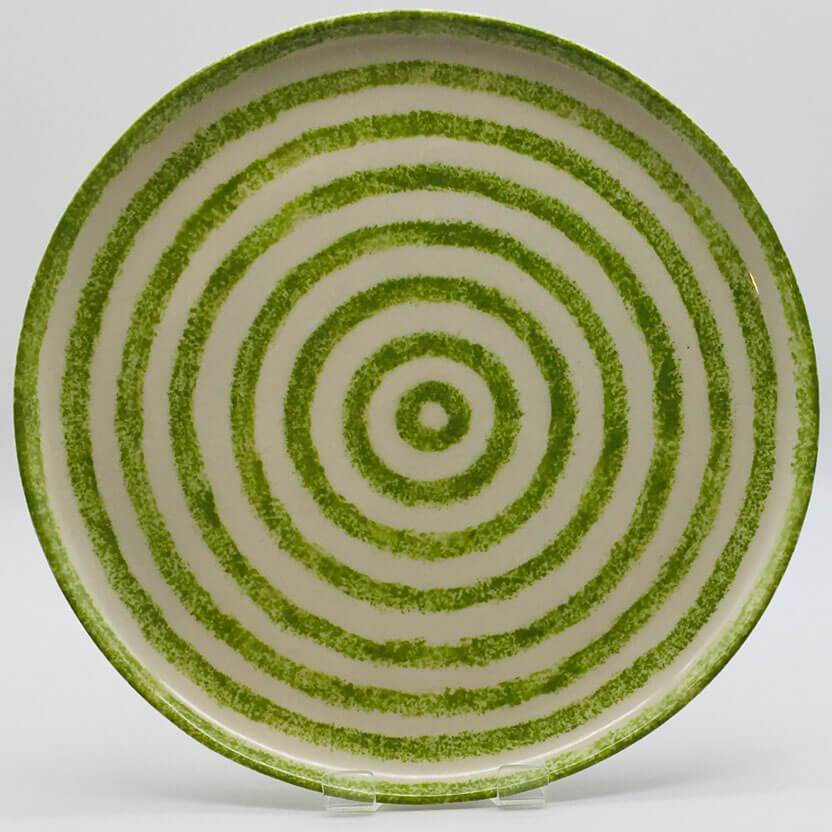 Beautiful green and white striped dinner plate with a design applied using a hand cut sponge effect. Diameter 26.5cm.