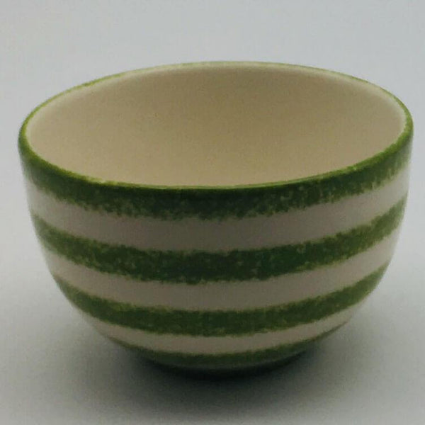 Beautiful green and white striped cereal bowl with a design applied using a hand cut sponge effect. 10cm by 6.5cm.