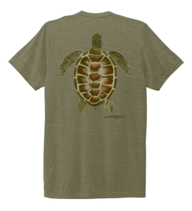 Colin Thompson, Turtle, Crew Neck T-Shirt in Earthy Green