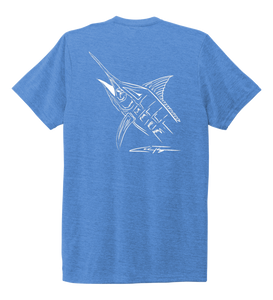Colin Thompson, Marlin, Crew Neck T-Shirt in Sky Blue