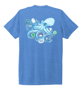 Lauren Gilliam, Octopus, Unisex Crew Neck T-shirt in Sky Blue