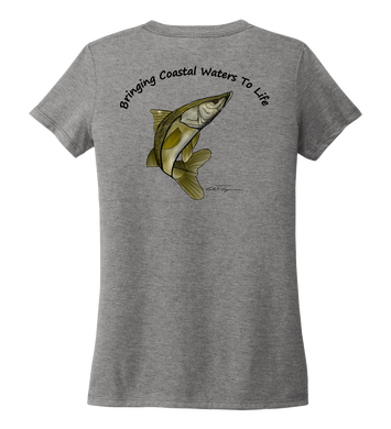 Ocean Habitats & Colin Thompson Collaboration - Women's V-neck T-shirt in Oyster Grey