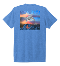 Load image into Gallery viewer, Lauren Gilliam, Dolphin, Unisex Crew Neck T-shirt in Sky Blue