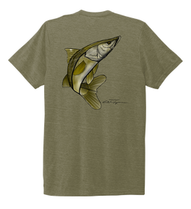 Colin Thompson, Snook, Crew Neck T-Shirt in Earthy Green