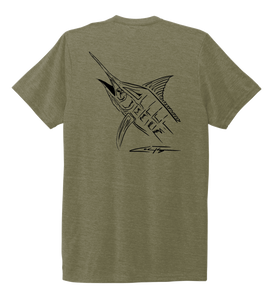 Colin Thompson, Marlin, Crew Neck T-Shirt in Earthy Green