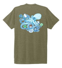 Load image into Gallery viewer, Lauren Gilliam, Octopus, Unisex Crew Neck T-shirt in Earthy Green
