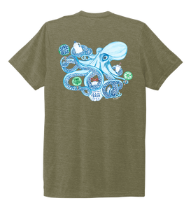 Lauren Gilliam, Octopus, Unisex Crew Neck T-shirt in Earthy Green
